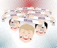 Вентиляторы и шарфы - русские сторонники национальной команды футбола, ve Стоковые Фотографии RF