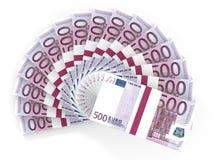 Вентилятор денег 500 евро иллюстрация вектора