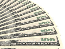 Вентилятор денег доллары 100 одних Стоковые Изображения