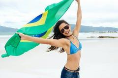 Вентилятор женщины флага Бразилии Стоковое Фото