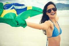 Вентилятор женщины флага Бразилии Стоковые Изображения
