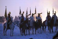 Вентилятор истории в костюме войск reenacts сражение 3 императоров Стоковые Фото