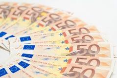 вентилятор 50 кредиток евро Стоковая Фотография