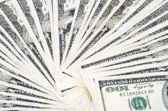 Вентилятор крупного плана 0950 долларовых банкнот Стоковое Фото