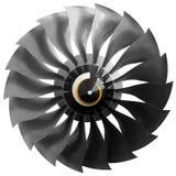 Вентилятор современного авиационного двигателя турбовентилятора Стоковая Фотография RF
