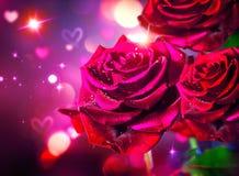 венчание вектора Валентайн роз сердец карточки предпосылки красный цвет поднял Стоковые Изображения