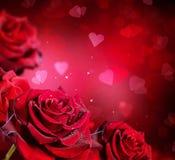 венчание вектора Валентайн роз сердец карточки предпосылки Стоковое Изображение RF