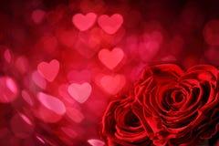 венчание вектора Валентайн роз сердец карточки предпосылки Стоковое Фото