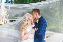 венчание Жених и невеста, целуя на красивом парке на день свадьбы , Романтичные пожененные пары Wedding пара outdoors объятие Стоковое Изображение