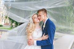 венчание Жених и невеста, целуя на красивом парке на день свадьбы , Романтичные пожененные пары Wedding пара outdoors объятие Стоковые Фото