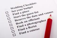 венчание контрольного списока Стоковые Изображения