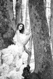 венчание парка девушки платья Женщина очарования около дерева Стоковая Фотография