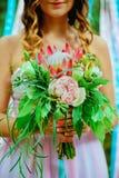 венчание переднего плана фокуса 3 букетов Невеста Стоковое Фото