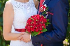 венчание переднего плана фокуса 3 букетов стоковое изображение rf
