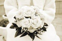 венчание переднего плана фокуса 3 букетов Sepia Стоковые Изображения