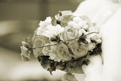 венчание переднего плана фокуса 3 букетов Sepia Стоковые Фото