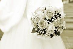 венчание переднего плана фокуса 3 букетов Sepia Стоковые Фотографии RF
