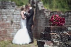 венчание портрета орнамента groom невесты предпосылки флористическое Стоковые Фотографии RF