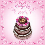 венчание приглашения приветствию карточки торта Стоковая Фотография