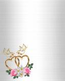 венчание приглашения сердца золота голубей Стоковое Изображение