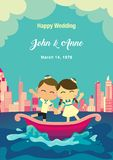 венчание сети шаблона страницы приветствию карточки предпосылки всеобщее Счастливые пары на шлюпке с предпосылкой городка Стоковое Изображение RF