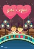 венчание сети шаблона страницы приветствию карточки предпосылки всеобщее жених и невеста на мосте пока держащ воздушный шар Стоковое Изображение RF