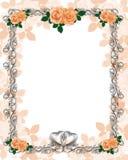 венчание шаблона роз персика приглашения иллюстрация вектора