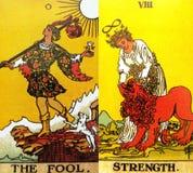 Вера второго рождения Beginnins карты Tarot дурака стоковое фото rf