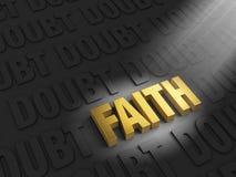Вера среди сомнения иллюстрация вектора