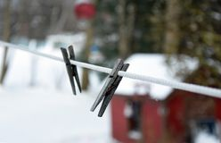 Веревка для белья в зиме Стоковые Фотографии RF