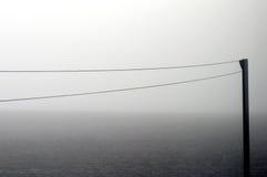 Веревка для белья в тумане утра стоковые изображения