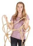 веревочка девушки стороны смешная стоковое фото rf
