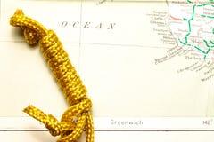Веревочка и карта Стоковое Изображение