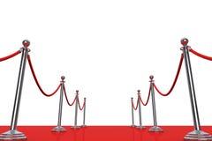 Веревочка красного ковра и барьера перевод 3d Стоковое Изображение RF