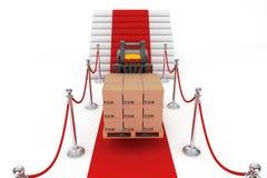Веревочка красного ковра и барьера с грузоподъемником и коробками Стоковое Изображение RF