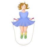 Веревочка маленькой девочки скача прыгая Стоковые Фото