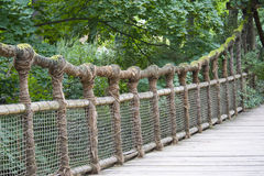веревочка моста деревянная Стоковые Фото