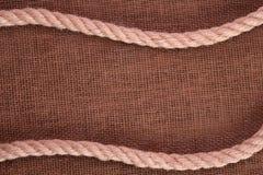 Веревочка на мешковине Стоковые Фотографии RF