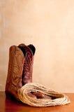 веревочка пар ковбоя ботинок коричневая Стоковое Изображение
