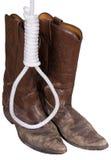 веревочка петли hangman ковбоя ботинок старая на запад западная Стоковые Изображения RF