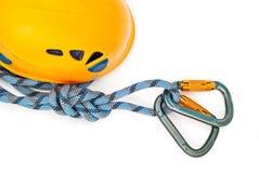 веревочка померанца шлема carabiners Стоковое Фото