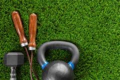 Веревочка скачки, вес, гантели Стоковая Фотография