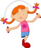 Веревочка скачки игры девушки шаржа Стоковые Изображения