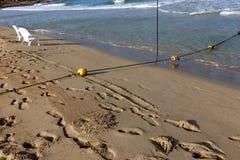 Веревочка с поплавками на seashore стоковое изображение