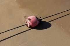 Веревочка с поплавками на seashore стоковое изображение rf
