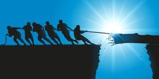 Веревочка тяги людей для того чтобы остановить статую свободы от падать в бездну иллюстрация вектора