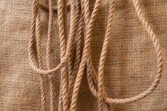 Веревочки джута на холсте Стоковые Фото