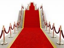 Веревочки красного ковра и бархата водя к лестнице Стоковая Фотография