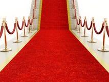 Веревочки красного ковра и бархата водя к лестнице Стоковые Фото