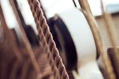 Веревочки на корабле Стоковое фото RF
